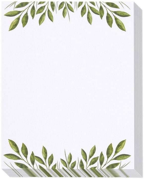 MISC 48x Leaf Patternd Printer Friendly Stationery Letter Size Sheets 8 5 X 11 Inches White