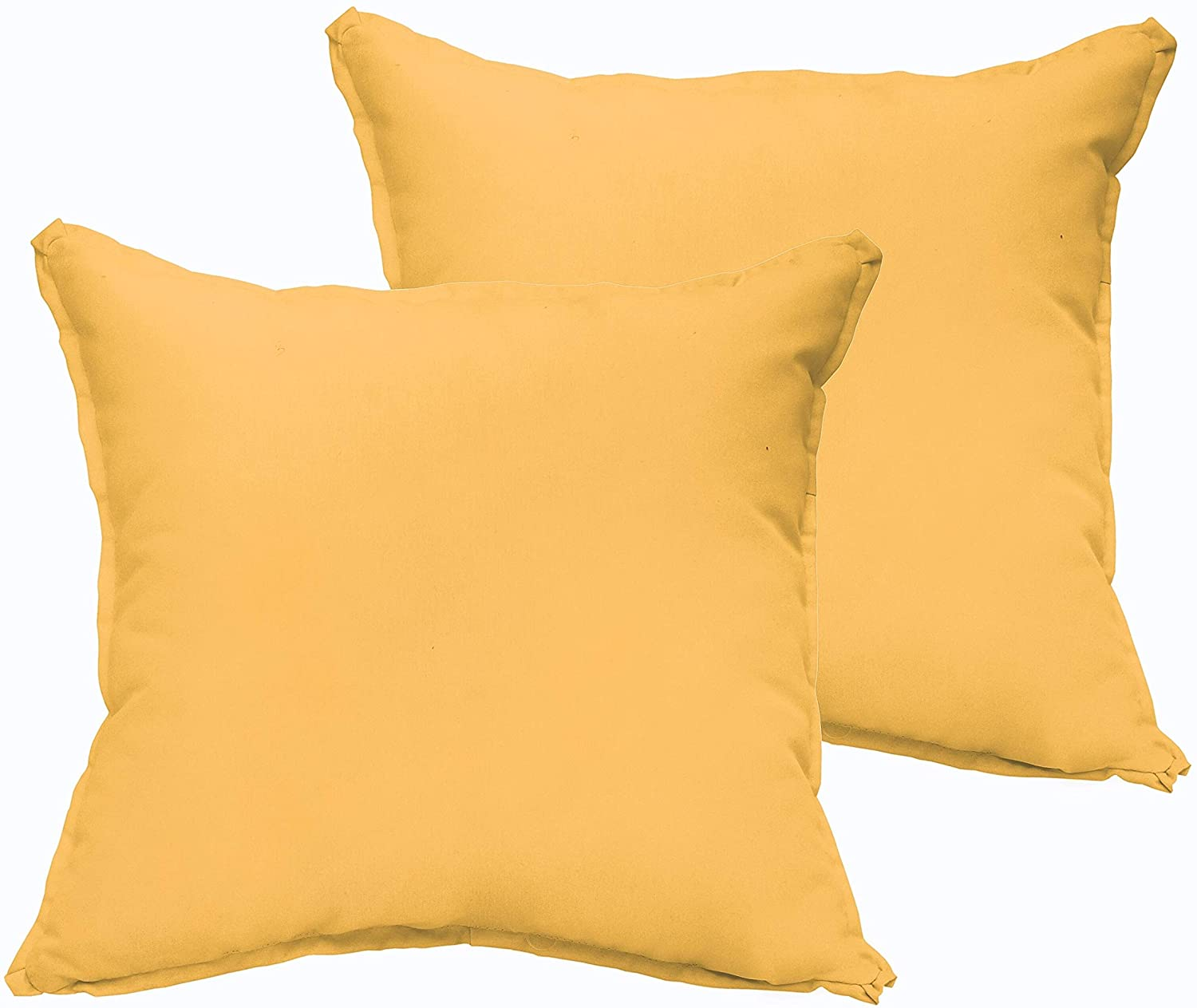 Butter Yellow Indoor/Outdoor 22 inch Square Pillow Set Solid Traditional Transitional Polyester Fade Resistant Made USA Uv Water