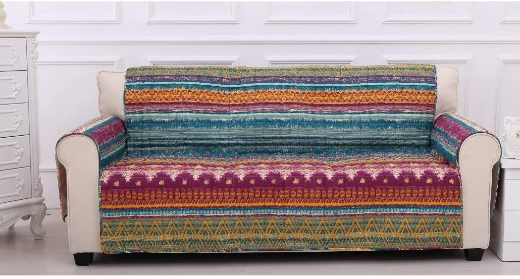 MN 1 Piece Orange Red Southwest Sofa Protector Blue Grey Geometric Stripe Pattern Southwestern Theme Protection Couch Hippie Motif Chevron Striped