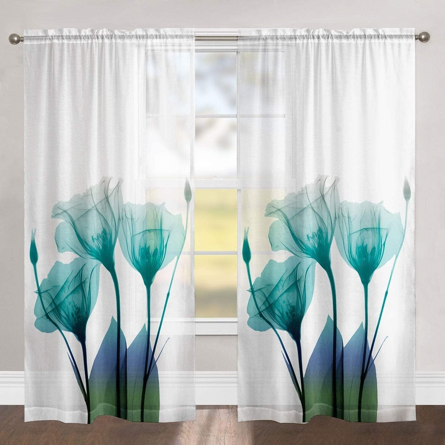 MISC Blue Floral 84 Inch Sheer Curtain Panel 84l x50w Polyester