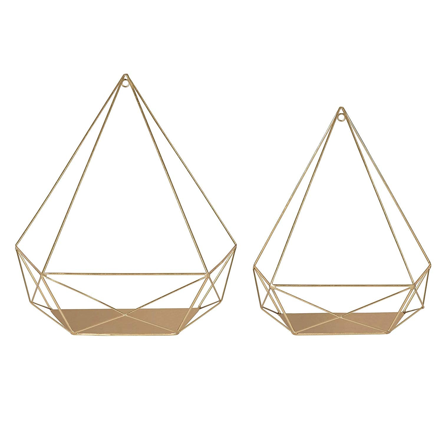 Gold Cube Floating Shelves Set 2 Decorative Wall Mounted Geometric Accent Shelves Indoor Wall Shelves Pillar Candle Holder Satin Finish Painted Modern