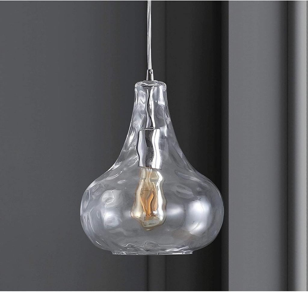 "9"" Adjustable Metal/Glass Led Pendant Chrome Glam Industrial Rustic Glass Metal Bulbs Included"