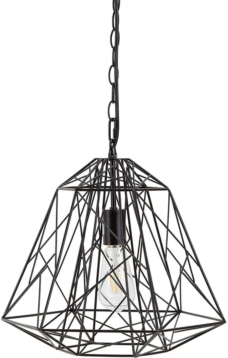 Geometric Metal Wire 1 Light Pendant Black Bohemian Eclectic Industrial Modern Contemporary Bulbs Included