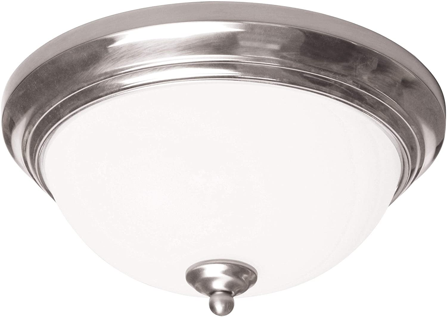 11 inch Satin Nickel Flush Mount White Glass Modern Contemporary Metal