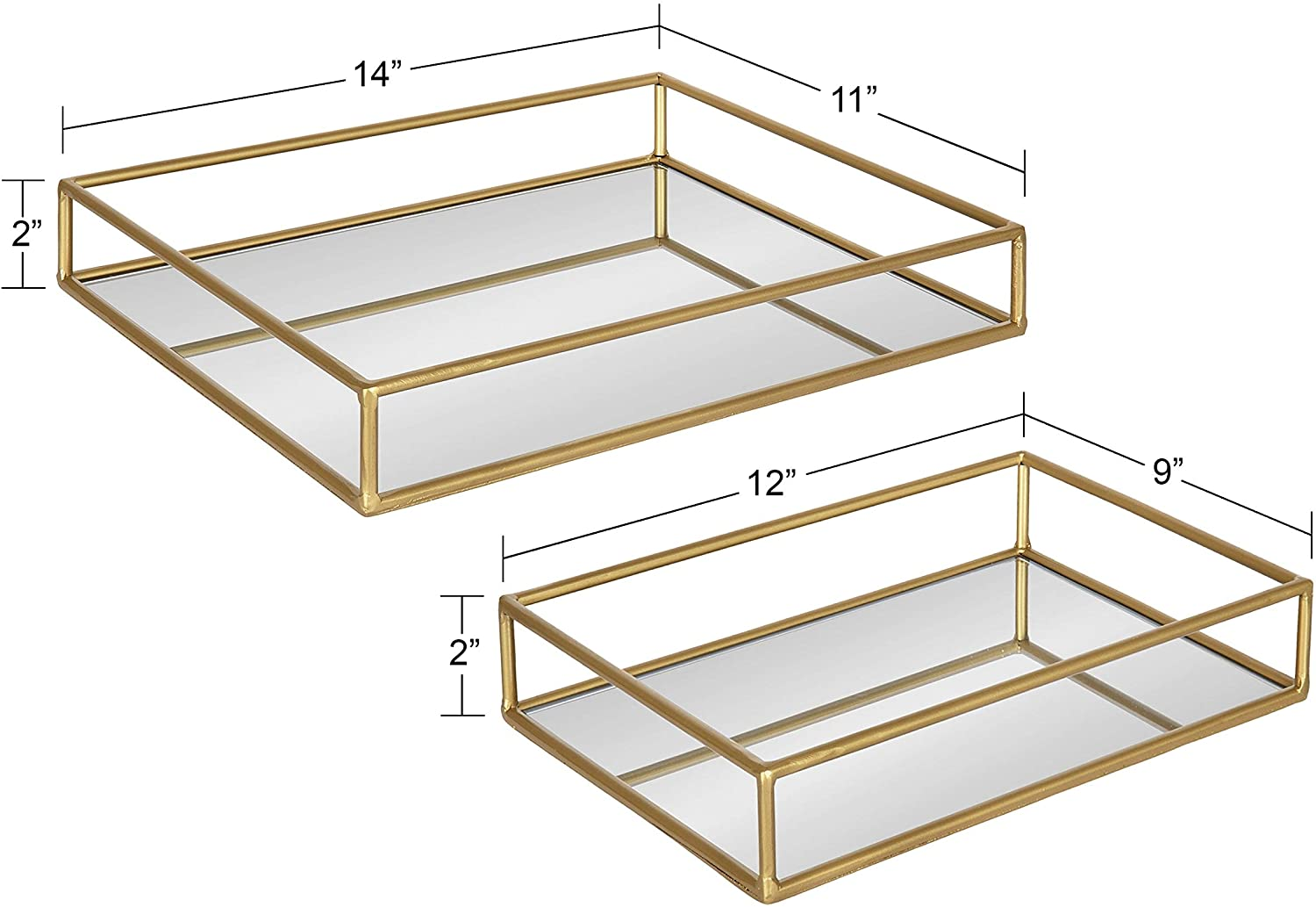 Rectangular Nesting Trays 2 Piece Gold Glam Metal