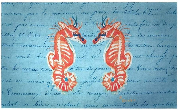 Coral Seahorses Door Mat 30x50 Color Coastal Rectangle Polyester Made USA Stain Resistant