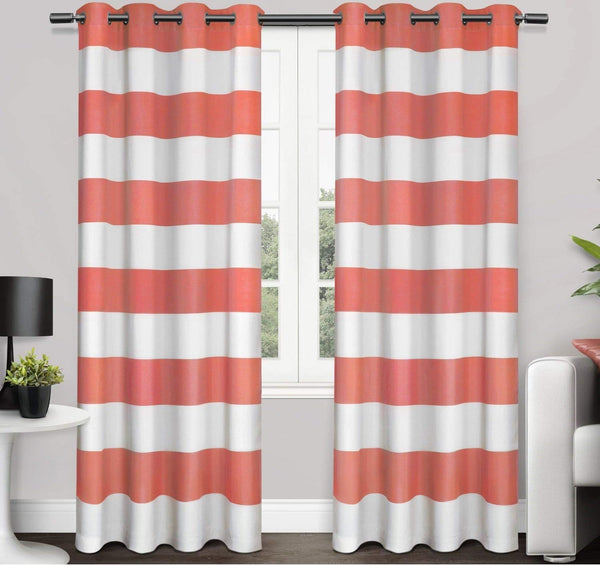84 Inch Coral White Rugby Stripes Curtains Pair Panel Set Pink Color Drapes Cabana Striped Pattern
