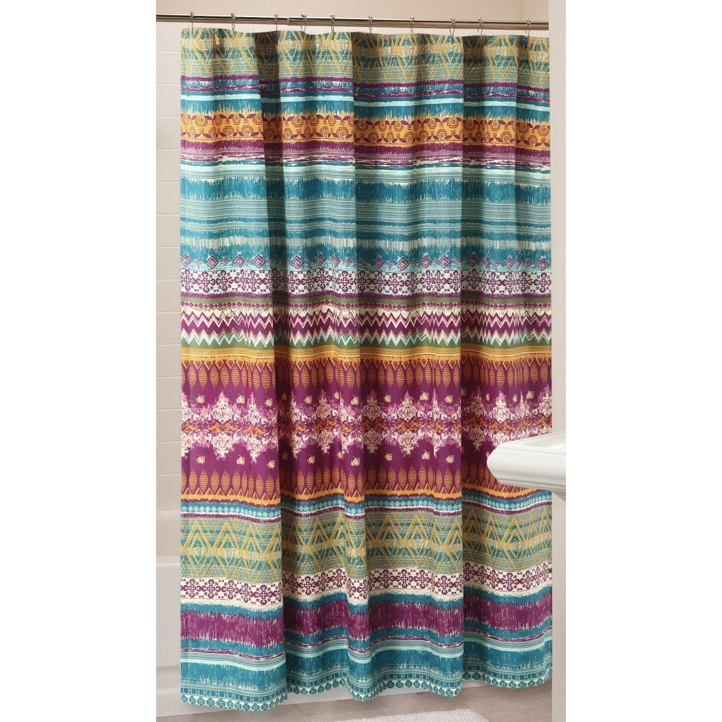 Purple Aqua Green Detailed Horizontal Stripe Pattern Shower Curtain Polyester Detailed Colorful Abstract Geometric Themed Multicolored Stripes Printed - Diamond Home USA