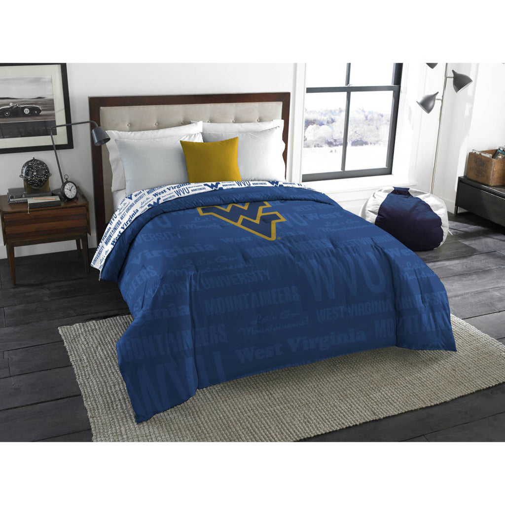 NCAA West Virginia University Mountaineers Comforter Twin/Full Sports Patterned Bedding Team Logo Fan Merchandise Team Spirit College Basket Ball