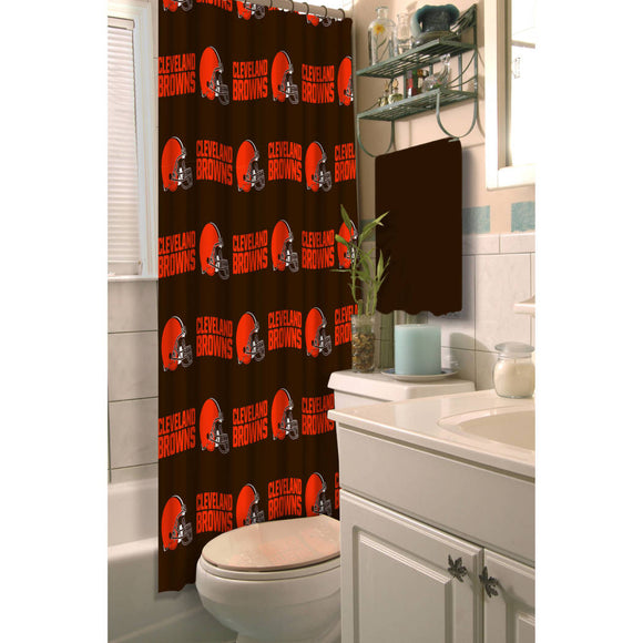 Brown Orange Browns Shower Curtain 72x72 Inch Football Themed Bathroom Decoration Team Logo Fan Merchandise Athletic Team Spirit Fan Bath - Diamond Home USA