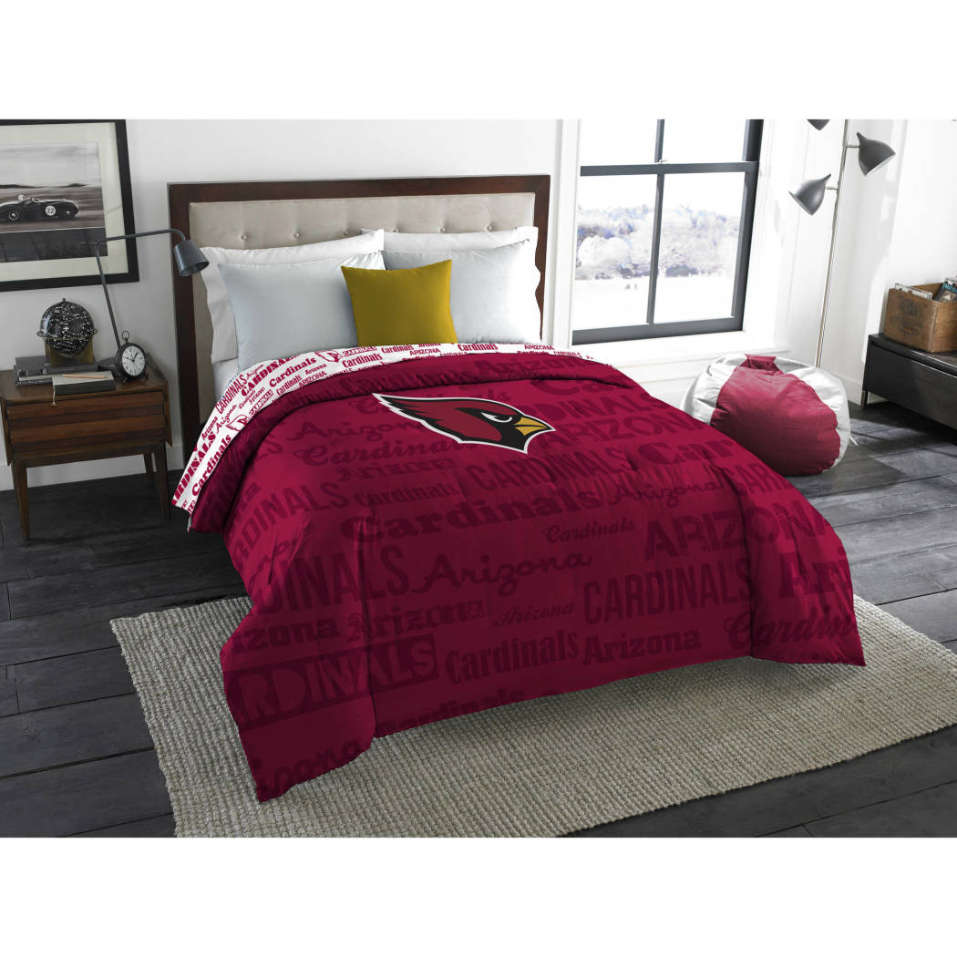 NFL Arizona Cardinals Comforter Twin/Full Sports Patterned Bedding Team Logo Fan Merchandise Team Spirit Football Themed National Football League Red Black