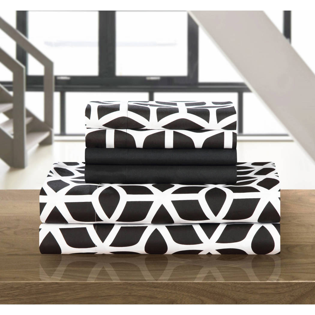 Abstract Geometric Pattern Sheets Set D Cube Design Bedding Sheet Modern Fun Chic Textured Design Casual Solid Bright