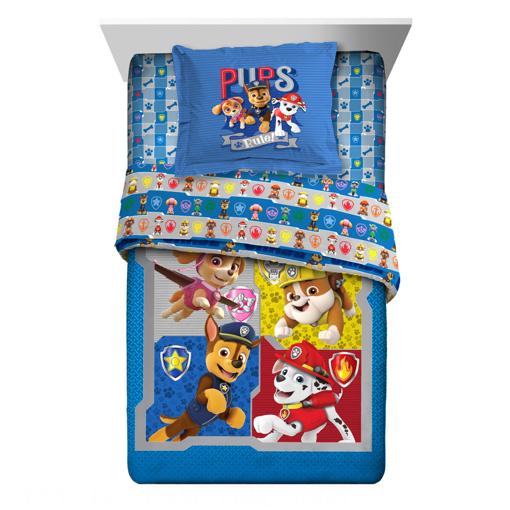Kids Blue Paw Patrol Comforter Twin/Full Set Cute Skye Rubble Marshall Bedding Chase Ryder Doggy Pattern Red Orange Pink Child Firefighter - Diamond Home USA