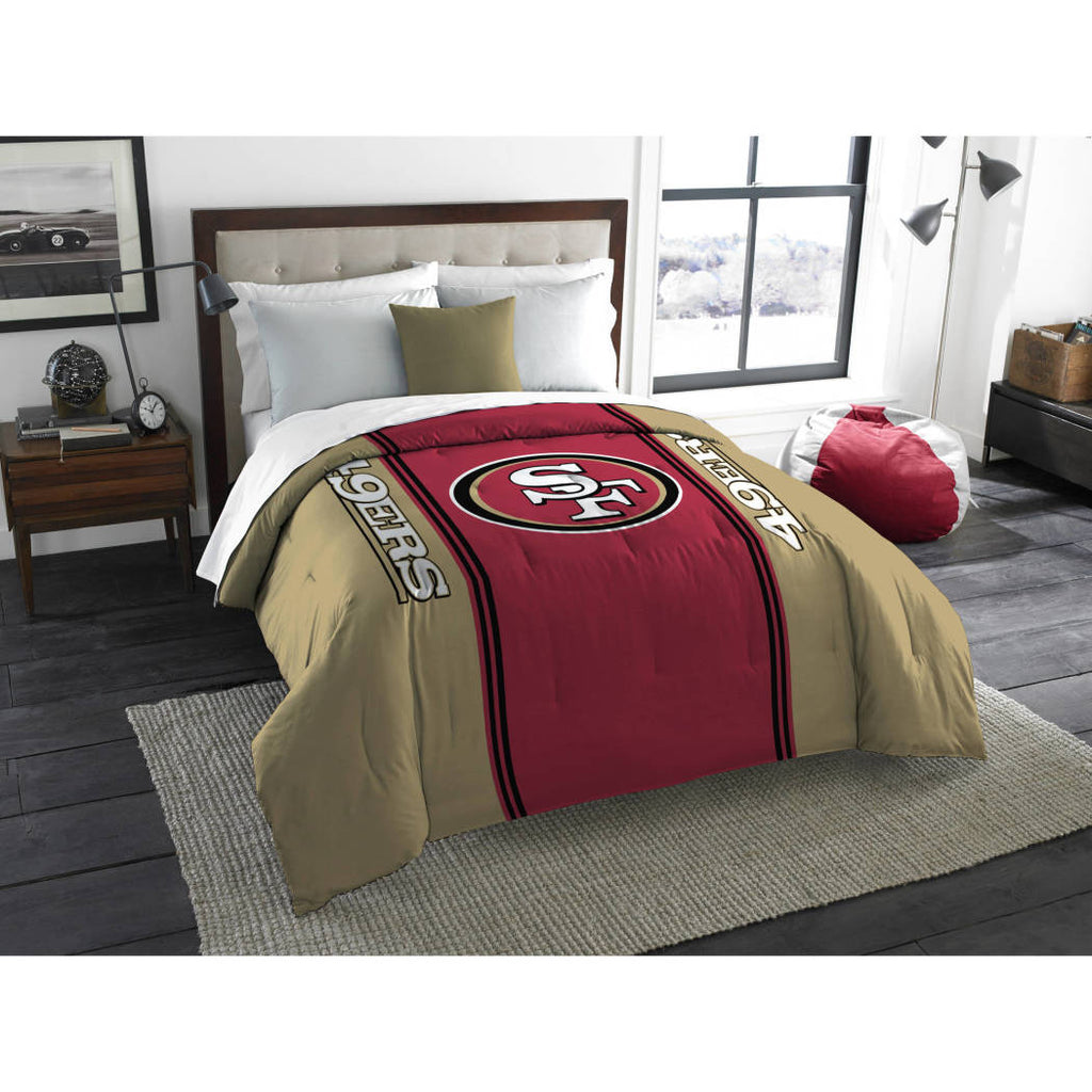 NFL San Francisco 49ers Comforter Full Sports Patterned Bedding Team Logo Fan Merchandise Team Spirit Football Themed National Football League Red Tan