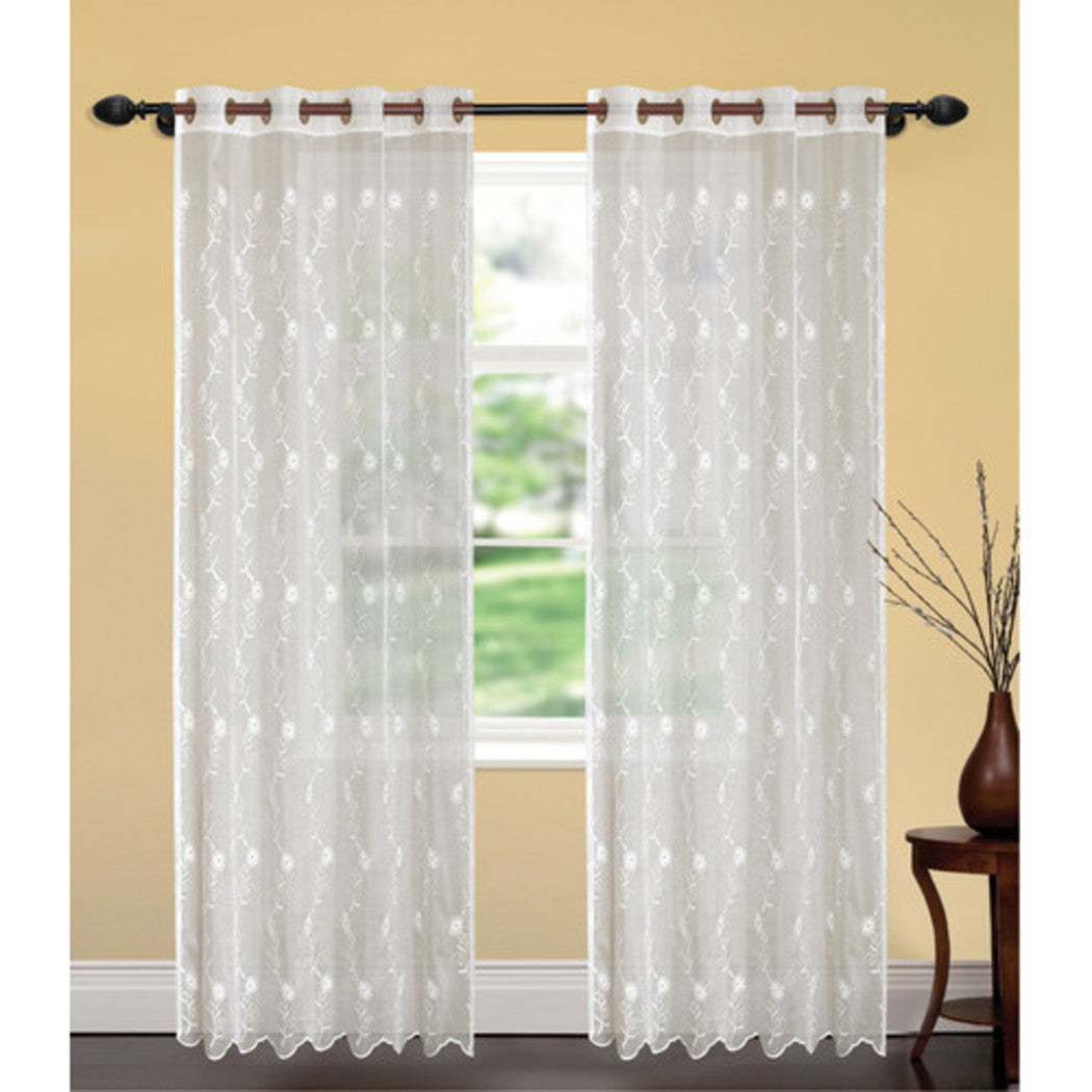 Outdoor Embroidered Floral Sheer Gazebo Curtain Nature Pattern Outside Window Treatment Single Panel Indoor Patio Entrance Door