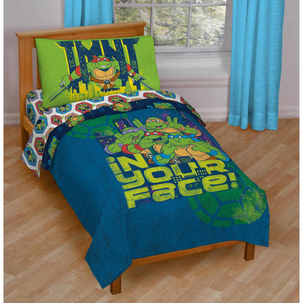 Green Ninja Turtles Toddler Bedding Blue Mutant Turtles Toddler Comforter Set Leonardo Michelangelo Donatello Raphael Toddler Set Superhero - Diamond Home USA
