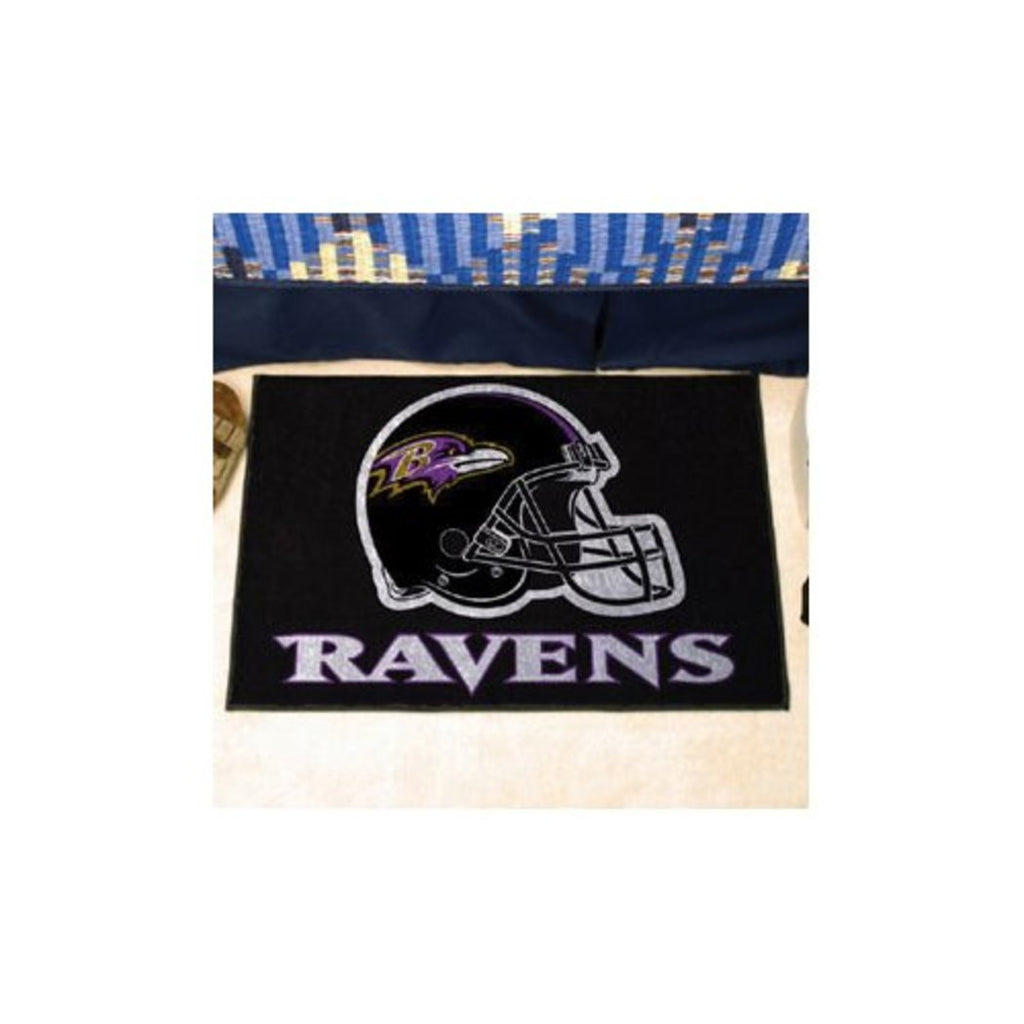 "19"" X 30"" Inch NFL Ravens Door Mat Printed Logo Football Themed Sports Patterned Bathroom Kitchen Outdoor Carpet Area Rug Gift Fan Merchandise Vehicle - Diamond Home USA"
