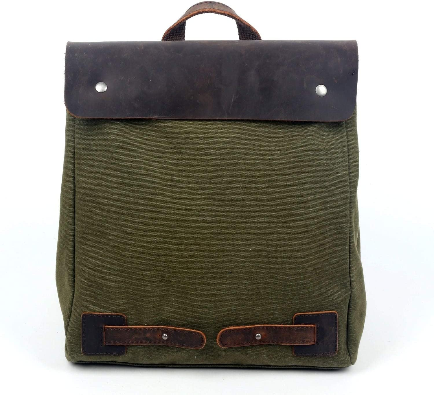 Canvas Cooper Backpack Green Solid Leather Flapover