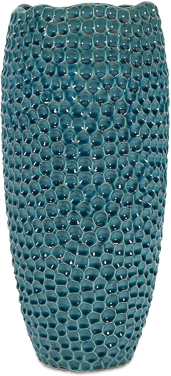 MISC Tall Crater Vase Blue Green Ceramic