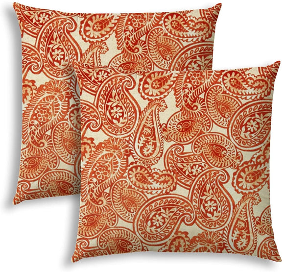 Orange Indoor/Outdoor Pillows Sewn Closure (Set Two) Color Graphic Modern Contemporary Polyester Water Resistant