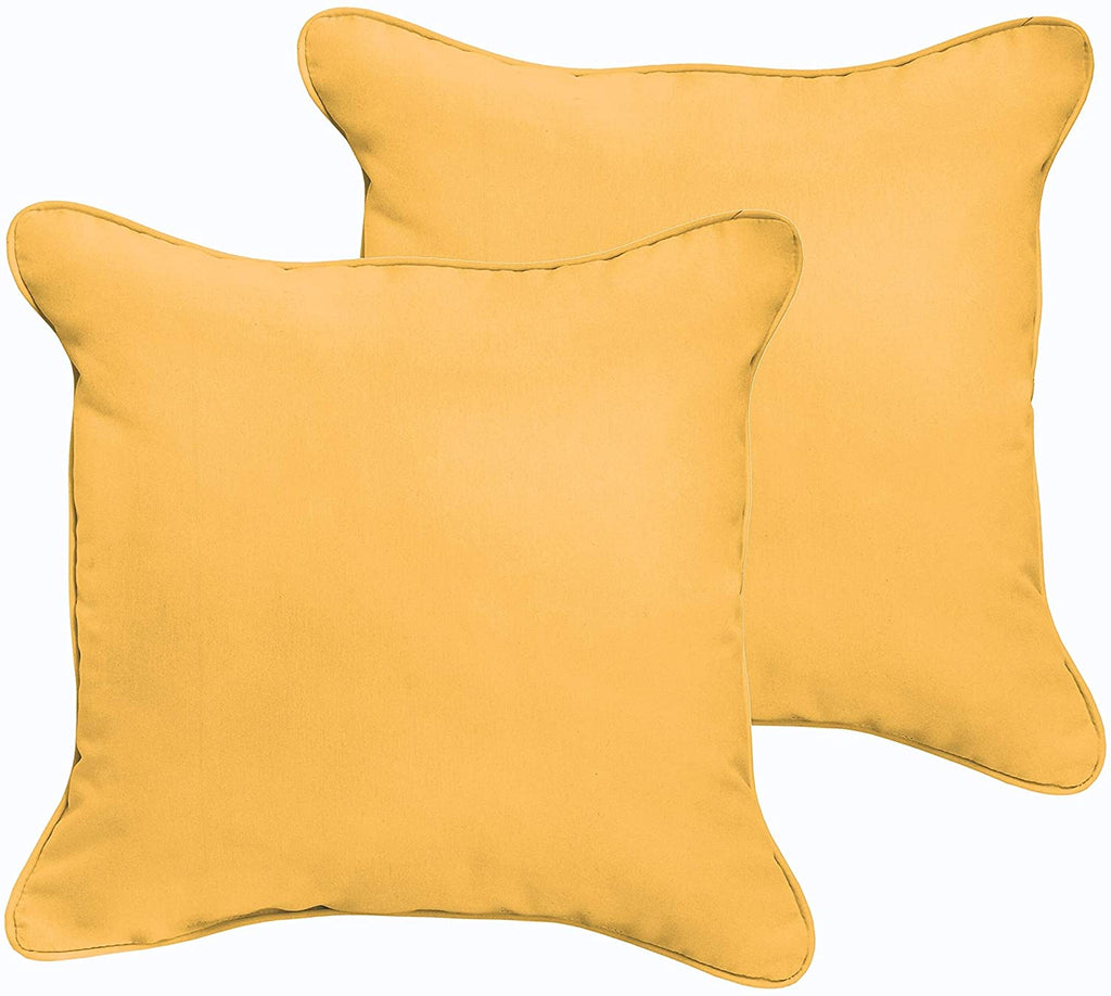 Butter Yellow 20 X 20 inch Indoor/Outdoor Corded Edge Pillow Set Solid Modern Contemporary Traditional Transitional Polyester Fade Resistant Uv Water
