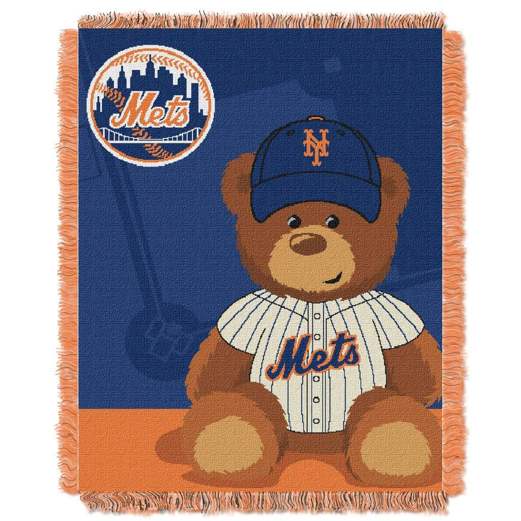"36""x46"" MLB Mets Baby Throw Sports Baseball Blanket Teddy Bear Animal Team Logo Printed Plush Cozy Throw Blanket Kids Super Soft Warm Bedding Fringed"