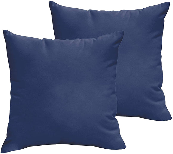 Dark Blue 22 X 22 inch Indoor/Outdoor Knife Edge Pillow Set Solid Modern Contemporary Traditional Transitional Polyester Fade Resistant Uv Water