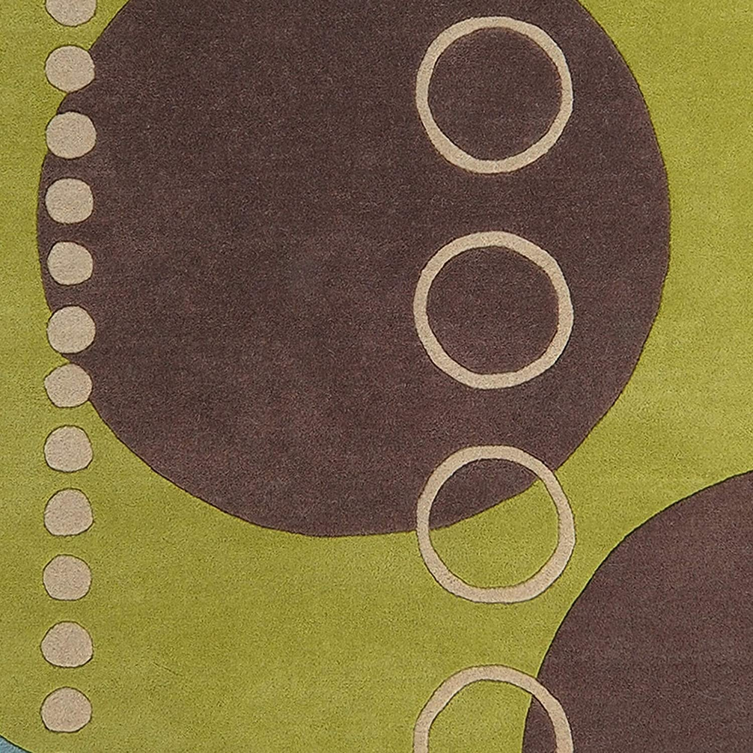 Hand Tufted Contemporary Colored Geometric Circles Wool Abstract Area Rug 4' Round Blue Modern Contains Latex Handmade