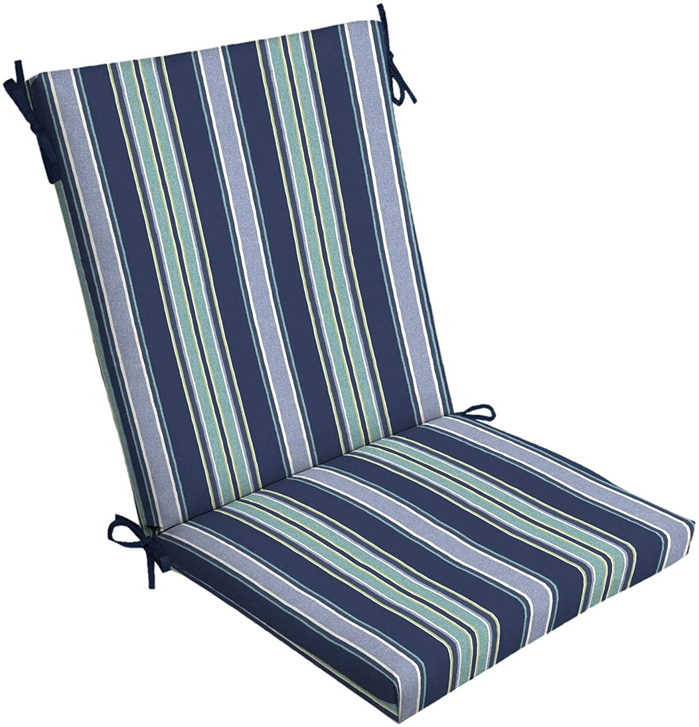 Sapphire Stripe Outdoor Chair Cushion Blue Striped Traditional Polyester Uv Resistant