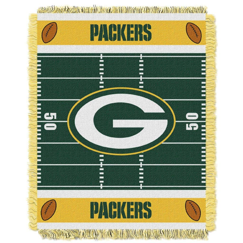 "36""x46"" NFL Packers Baby Throw Sports Football Blanket Team Logo Printed Football Field Plush Cozy Throw Blanket Kids Super Soft Warm Bedding Fringed"