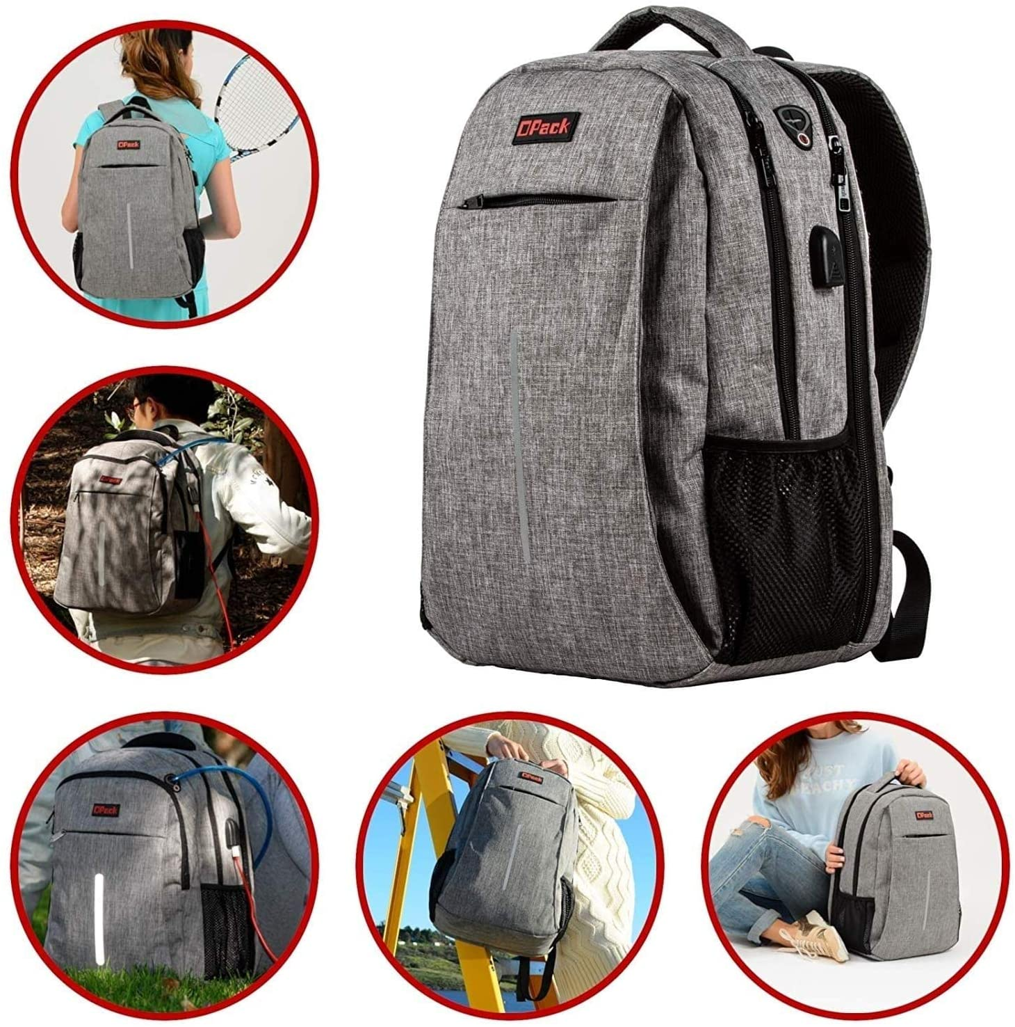 Durable Laptops Backpack USB Charging Port Grey Sports Nylon Checkpoint Friendly Convertible Laptop Compartment