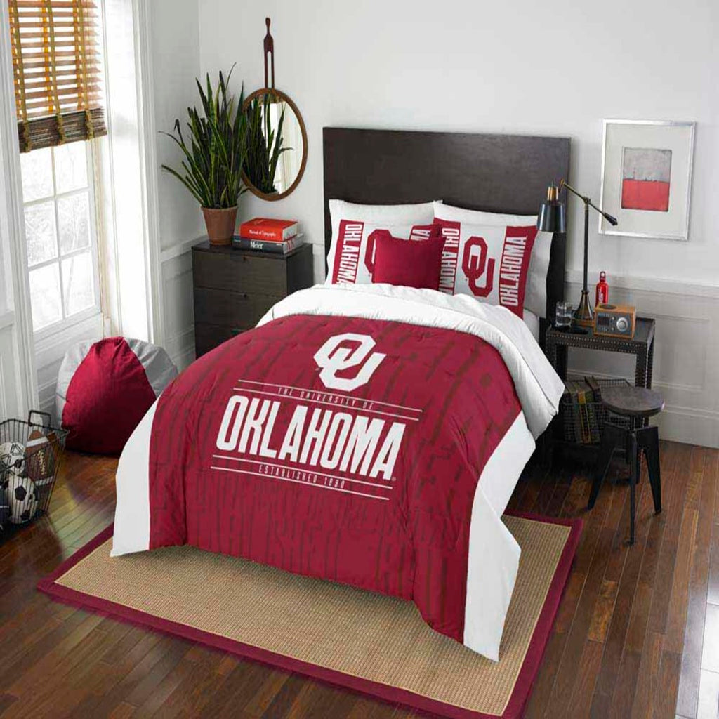 NCAA University Oklahoma Sooners Comforter Set Sports Patterned Bedding Team Logo Fan Merchandise Team Spirit College Football Themed Red