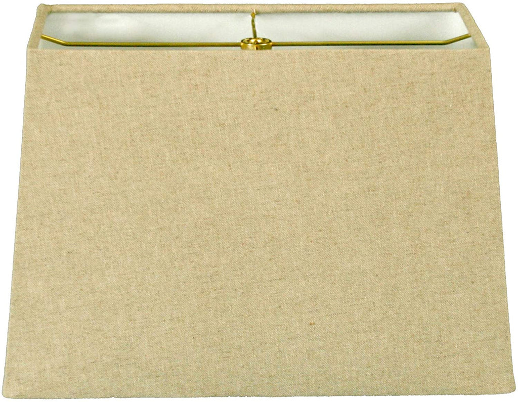 Rectangle Hard Back Lamp Shade Linen Cream (6x12) X (8x14) 10 Cream Traditional