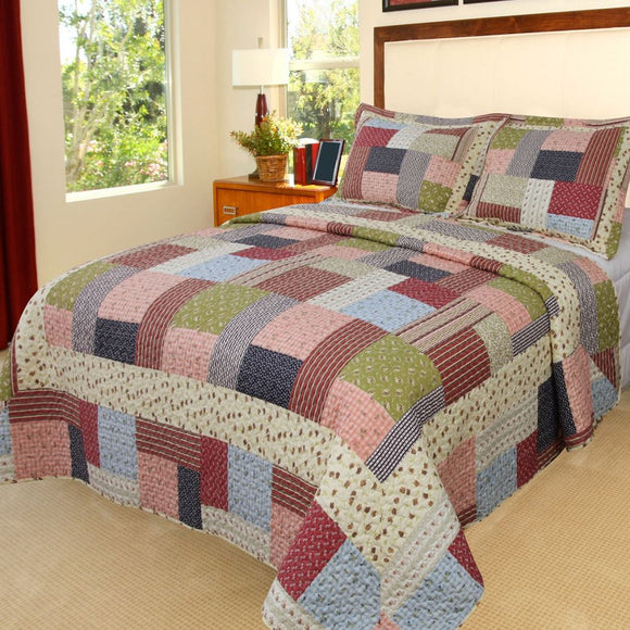 Quilt Set Tartan Plaid Patchwork Themed Bedding Cottage Cabin Country Vintage Western Lodge Checkered Shabby Chic