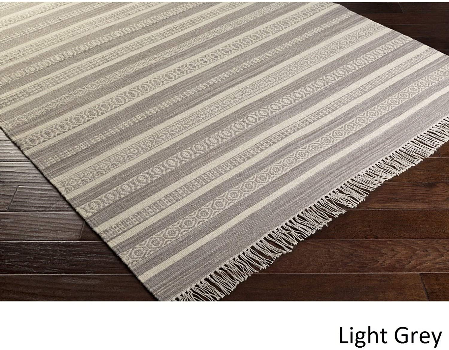 MISC Hand Woven Clarita Wool/Cotton Area Rug (4' X 6') 4' 6' Blue Brown Grey Ivory Purple Geometric Nature Stripe Casual Southwestern Rectangle Cotton