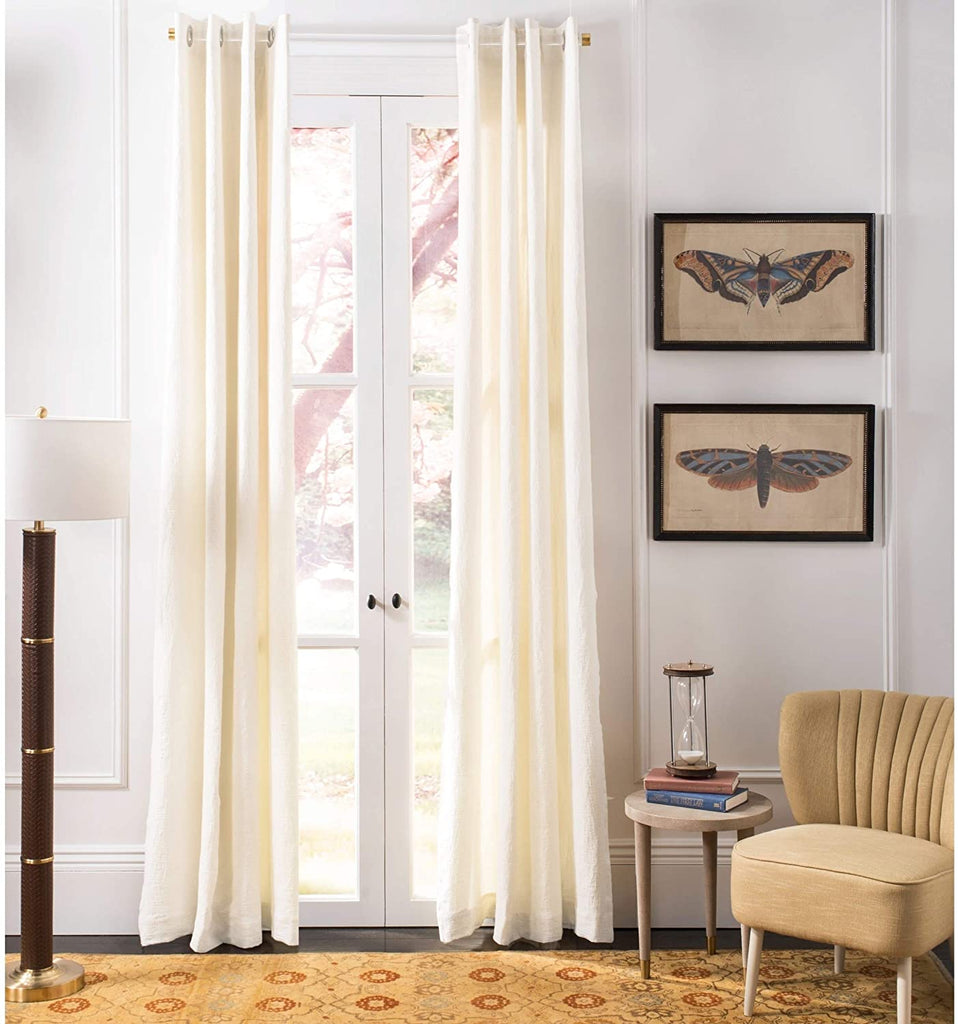 "UKN Linen 84 inch Single Curtain Panel 84"" L X 52"" W Natural White Solid Casual Farmhouse Modern Contemporary"