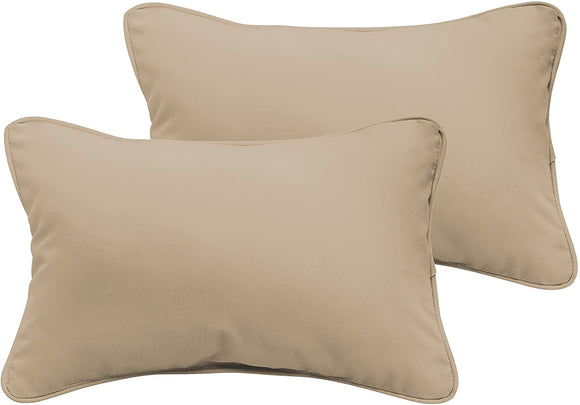 Beige 12 X 24 inch Indoor/Outdoor Pillow Set Tan White Solid Modern Contemporary Traditional Transitional Polyester Fade Resistant Uv Water