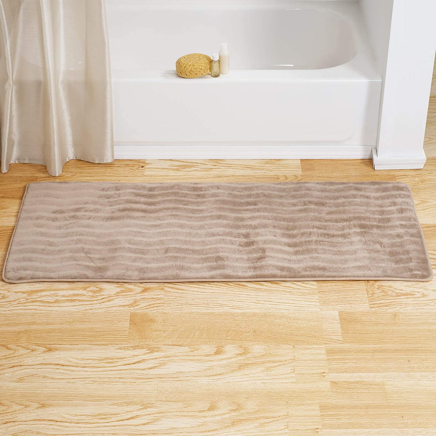 Memory Foam Extra Long Bath Rug Mat Taupe Brown Striped