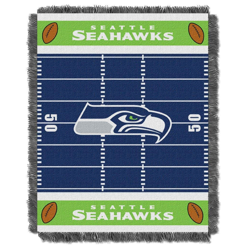 "36""x46"" NFL Seahawks Baby Throw Sports Football Blanket Team Logo Printed Football Field Plush Cozy Throw Blanket Kids Super Soft Warm Bedding Fringed"