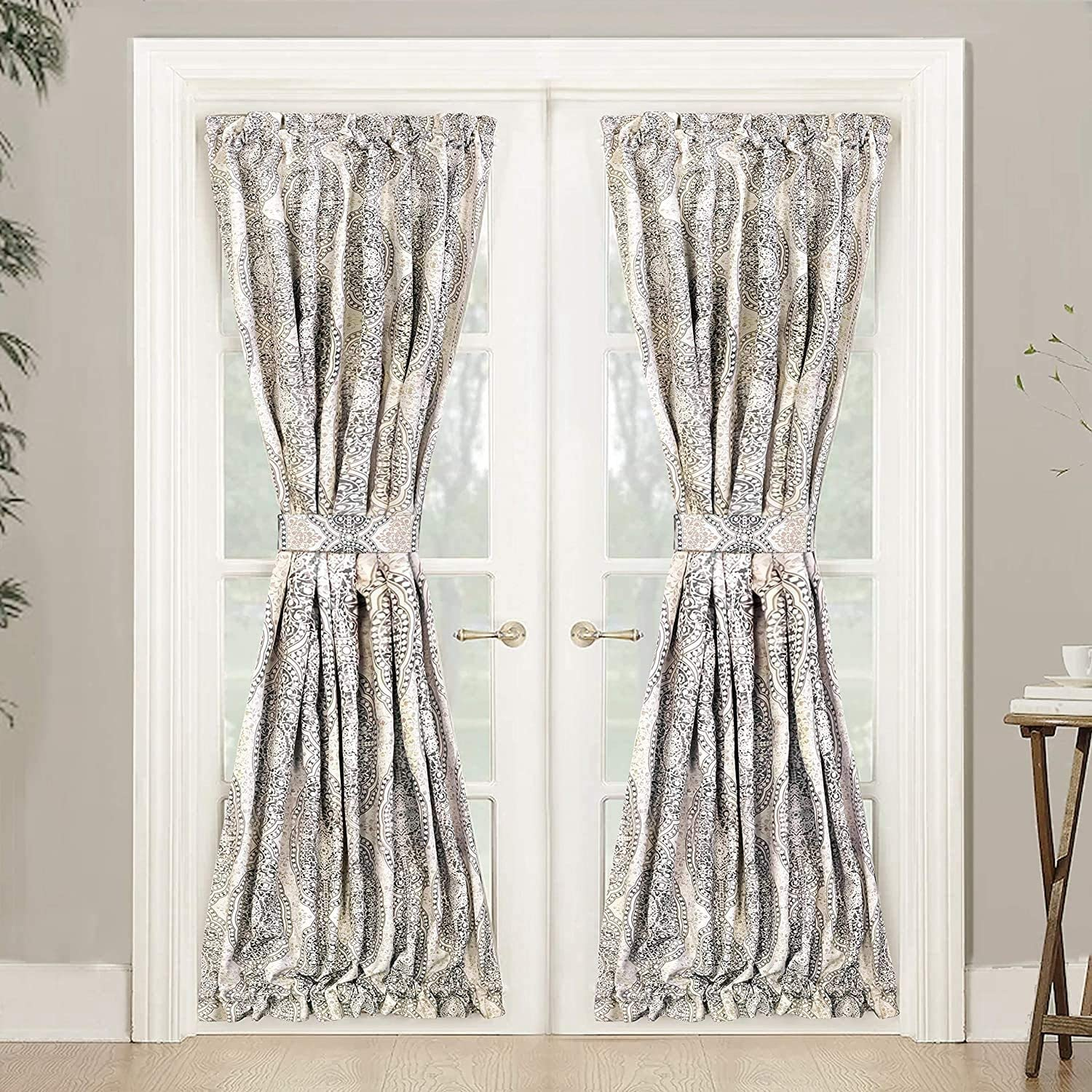 "UKN Rod Pocket Room Darkening Patio French Door Curtain Panel Pair 52"" Width X 72"" Length Grey Medallion Kids Teen Modern Contemporary Polyester"
