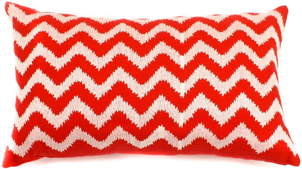 "Handmade Red Zig Zag Decorative Pillow 12"" X 20"" White Cotton"