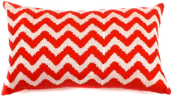 Handmade Red Zig Zag Decorative Pillow 12