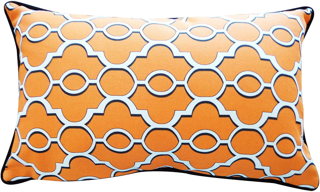 Handmade Orange Pillow White Polyester