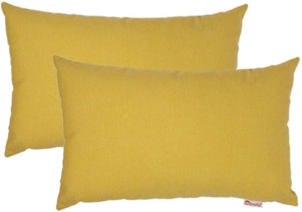 "Boudoir Outdoor Pillow 2 Pack 13"" X 20"" Yellow Solid Modern Contemporary Sunbrella Removable Cover"