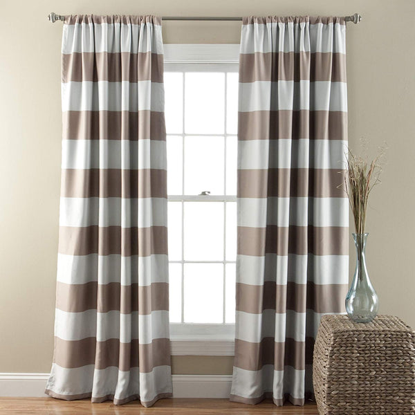 84 Inch Taupe White Rugby Stripes Curtains Pair Panel Set