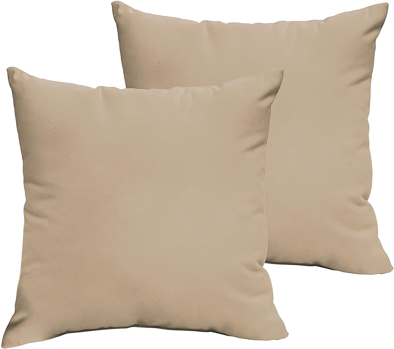Beige 22 X 22 inch Indoor/Outdoor Knife Edge Pillow Set White Solid Modern Contemporary Traditional Transitional Fabric Polyester Fade Resistant Uv