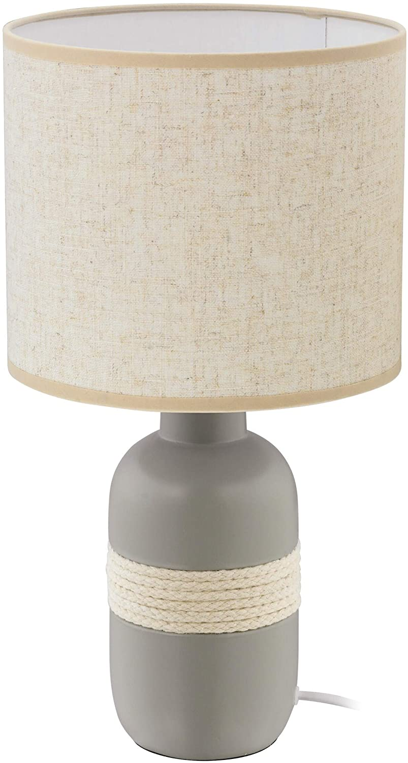 Table Lamp Grey Finish Beige Fabric Shade Transitional