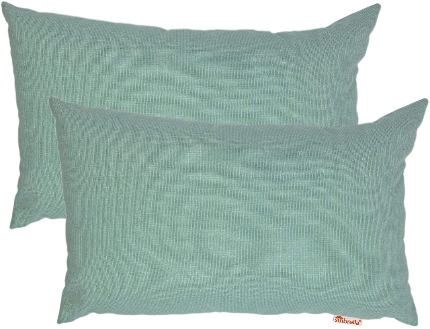 "Mist Boudoir Outdoor Pillow 2 Pack 13"" X 20"" Green Solid Modern Contemporary Removable Cover"