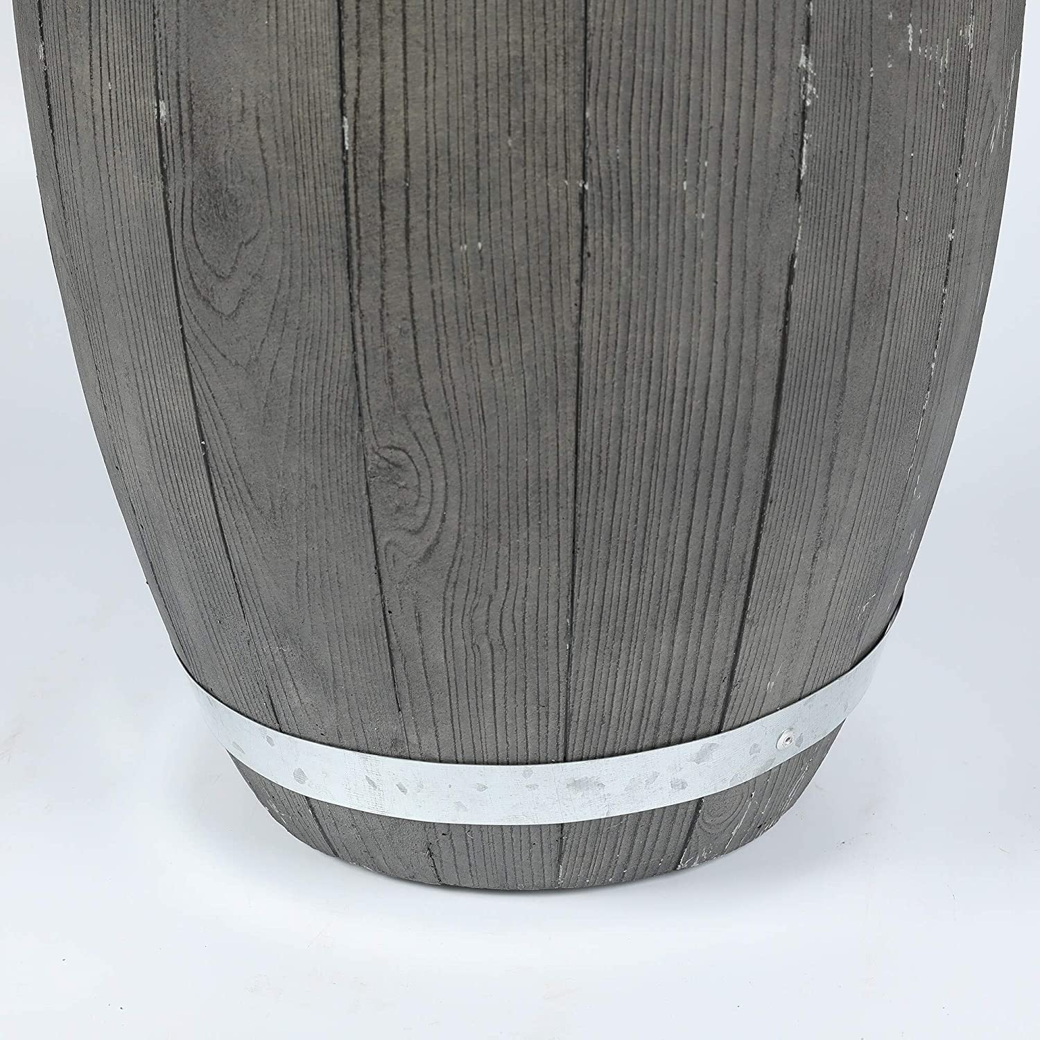 13in Dia Mgo Plank Planter Brown Grey Rustic Round