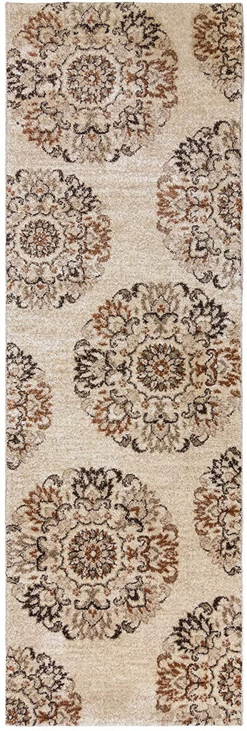 "MISC 33 Beige Area Rug (2'7""x8') Gertmenian 2' X 6' Runner Dots Polypropylene Latex Free"